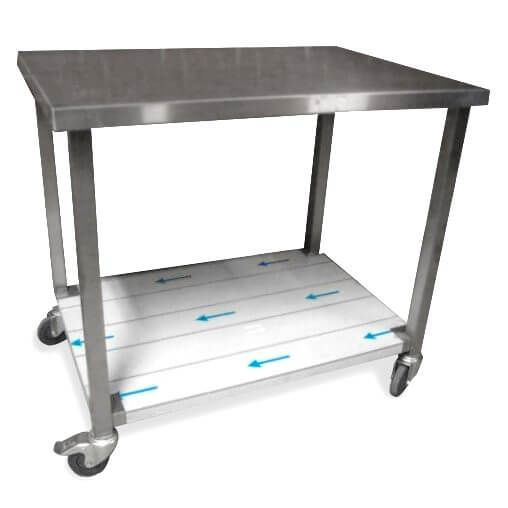 Cool Rullebord i stål med underhylde, kraftig model, mange størrelser FU12