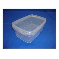 Plastbøtte rektangulær - 1200 ml - klar  + Plastlåg rektangulær - 192x129 mm klar