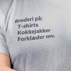 Broderi på Kokkejakker, forstykker, T-shirts mv