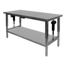 Hæve-/sænkebord m. underhylde, 70cm dyb, flere længder