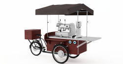 Kaffecykel komplet med kaffemaskine, Kaffekværn, eltilslut mv.