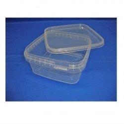 Plastbøtte firkantet 5621 - 600 ml. - klar + Plastlåg firkantet 2520 - 129x129 mm. - klar