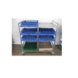 Rullevogn med plads til 10 opvaskebakker / servicevogn / afryddervogn