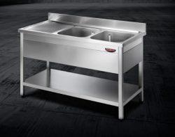 Stålbord med underhylde og 2 vaske HØJRE side, Tecnodom