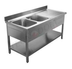 Stålbord med underhylde og 2 vaske i VENSTRE side
