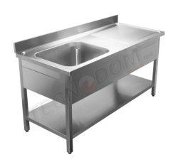 Stålbord med underhylde og vask, Tecnodom - flere størrelser