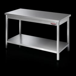 Stålbord med underhylde uden bagkant, Tecnodom - flere størrelser