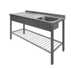 Stålbord PSS m/ vask og ribbet underhylde, 700mm dyb i mange længder