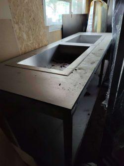 Buffetbord med kold- og varm buffetbrønd, brugt
